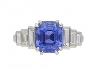 Art Deco Ceylon sapphire and diamond ring, berganza hatton garden