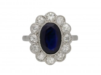 sapphire and diamond coronet cluster ring berganza hatton garden