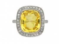 Ceylon yellow sapphire and diamond ring berganza hatton garden