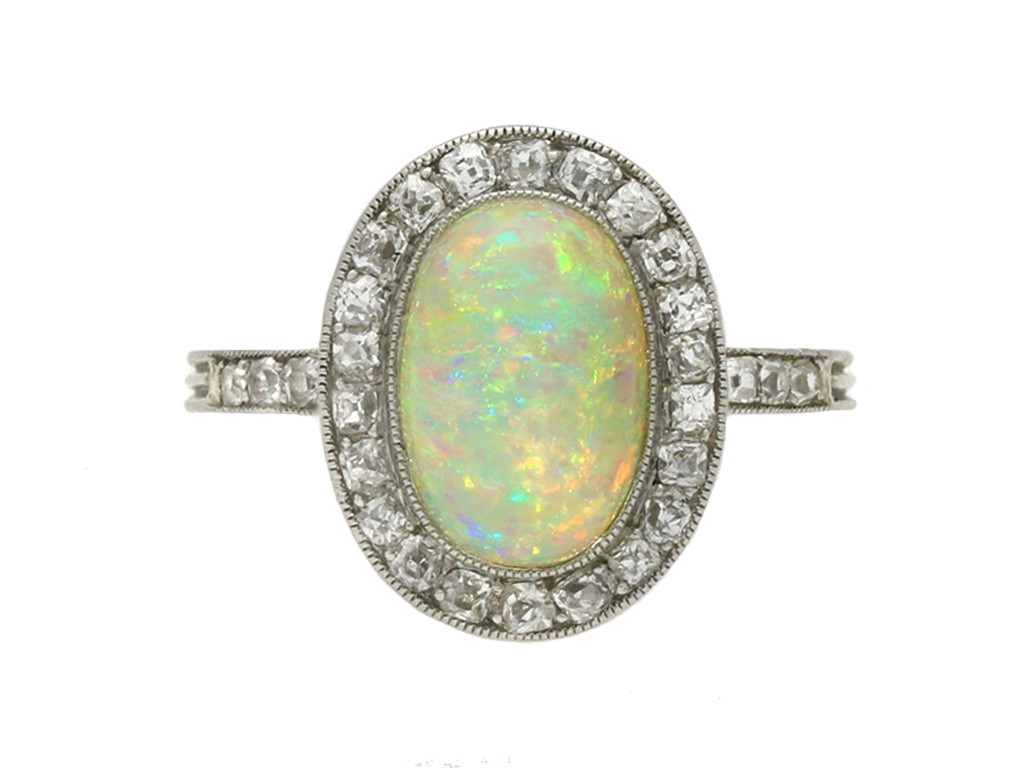 Edwardian opal diamond cluster ring berganza hatton garden