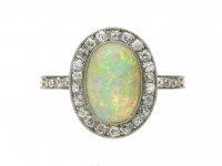 Edwardian opal diamond cluster ring berganza hatton garden