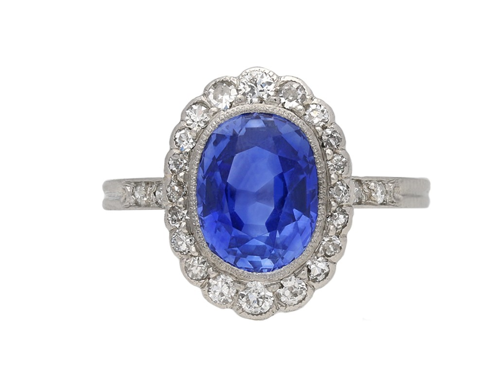 Edwardian Ceylon sapphire diamond ring berganza hatton garden