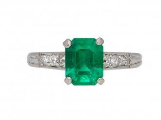 Art Deco emerald diamond solitaire ring berganza hatton garden