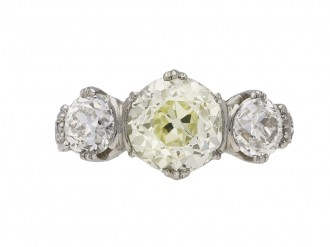 Art Deco three stone diamond ring berganza hatton garden