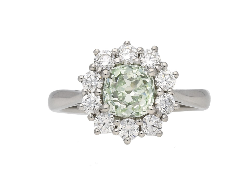 Vintage fancy diamond coronet cluster ring berganza hatton garden