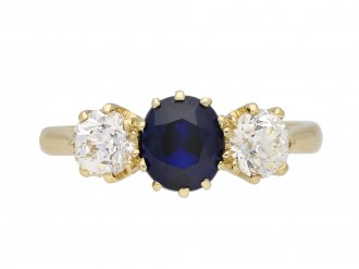 Burmese sapphire diamond three stone ring berganza hatton garden