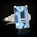 Art Deco aquamarine and diamond ring, circa 1925.