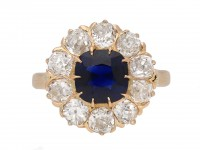 Victorian sapphire diamond cluster ring berganza hatton garden