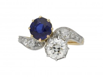 Edwardian sapphire diamond cross over ring berganza hatton garden