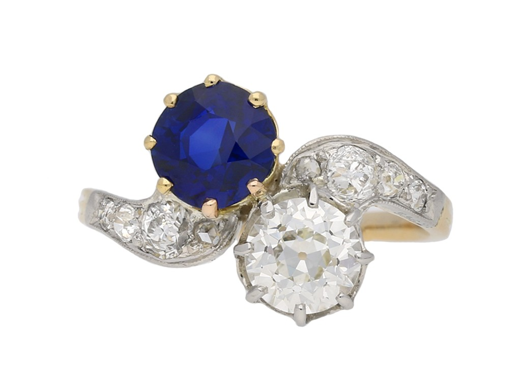 Edwardian sapphire diamond ring berganza hatton garden