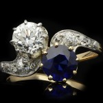 Edwardian sapphire and diamond cross over ring, circa 1910.