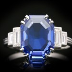 Art Deco Ceylon sapphire and diamond ring, circa 1925.