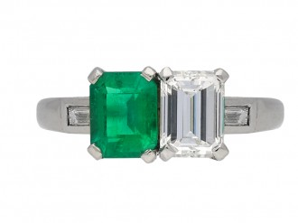 Art Deco diamond and emerald ring berganza hatton garden