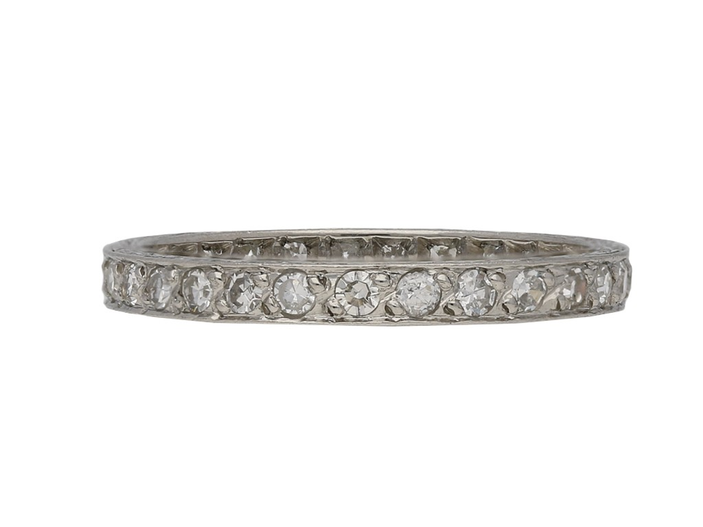 Art Deco engraved diamond eternity band berganza hatton garden
