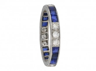 Vintage diamond and sapphire eternity ring berganza hatton garden