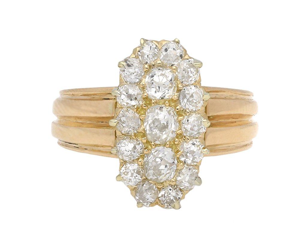 Victorian marquise diamond cluster ring berganza hatton garden