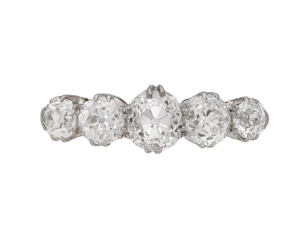 Edwardian five stone diamond ring berganza hatton garden