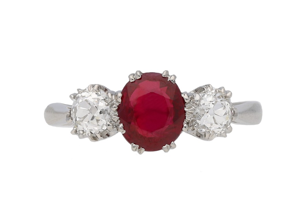 Burmese ruby and diamond three stone ring berganza hatton garde