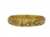 17th Century engraved gold posy ring berganza hatton garden