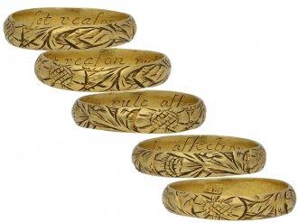 17th Century engraved gold posy ring berganza hatton garden