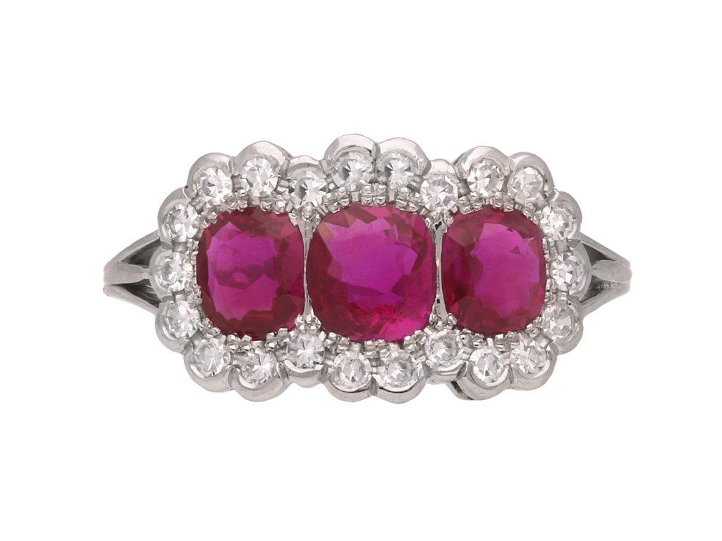 Edwardian Burmese ruby diamond ring berganza hatton garden