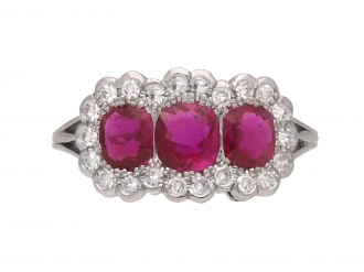 Edwardian Burmese ruby diamond ring berganza hatton garden