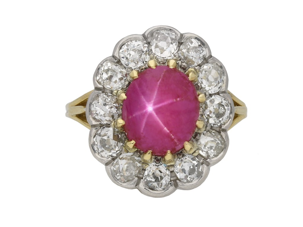 Edwardian pink star sapphire cluster ring berganza hatton garden