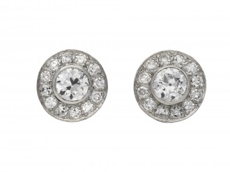 Art Deco diamond cluster earrings, berganza hatton garden