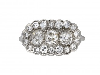 Edwardian triple cluster diamond ring berganza hatton garden