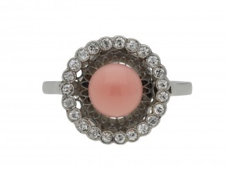 Antique conch pearl and diamond ring berganza hatton garden