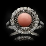 Antique conch pearl and diamond coronet cluster ring, circa 1920.