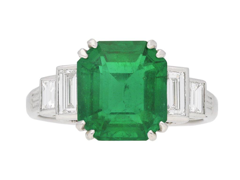 Art Deco Colombian emerald solitaire ring berganza hatton garden