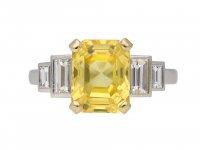 Vintage yellow sapphire and diamond ring berganza hatton garden