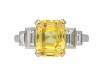Vintage yellow sapphire and diamond ring berganza hatton garden