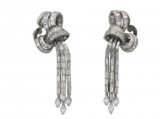 Diamond night and day bow clip earrings berganza hatton garden
