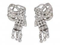 Vintage diamond night day bow clip earringsberganza hatton garden