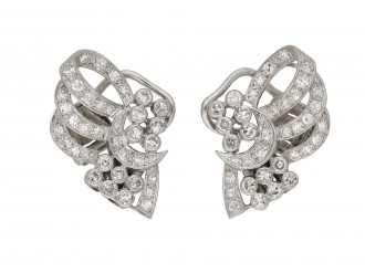 Vintage diamond night day bow clip earringsberganza hatton garden