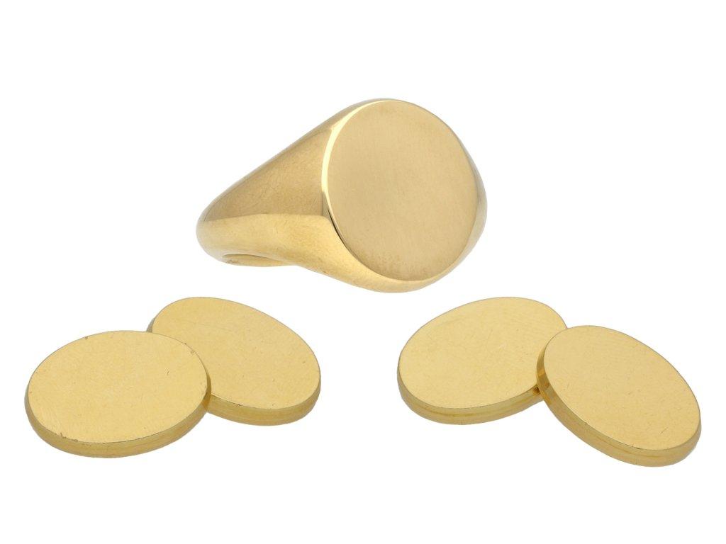 Vintage gold cufflink and signet ring set berganza hatton garden