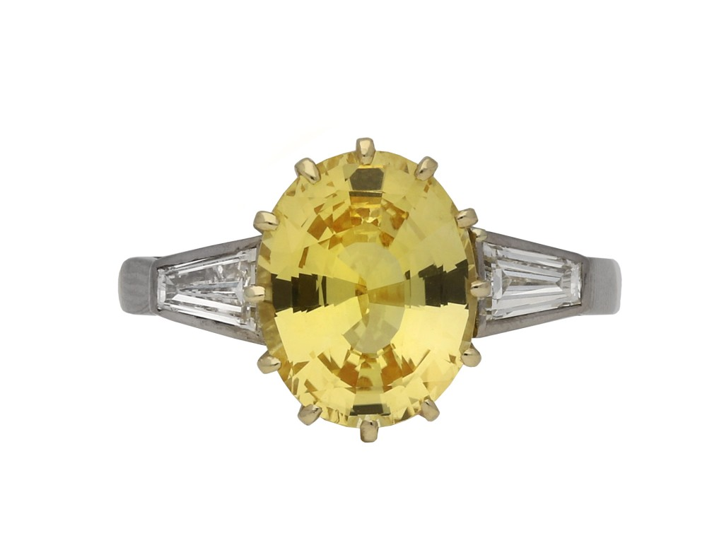 Ceylon yellow sapphire diamond ring berganza hatton garden