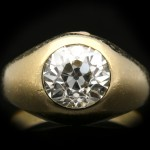 Victorian old cut diamond gypsy ring, English, circa 1900.