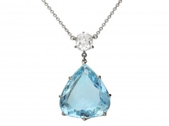 Edwardian aquamarine and diamond pendant berganza hatton garden
