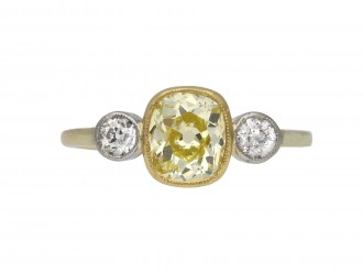 Edwardian fancy yellow diamond ring berganza hatton garden
