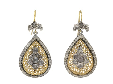Victorian rose cut diamond drop earrings berganza hatton garden