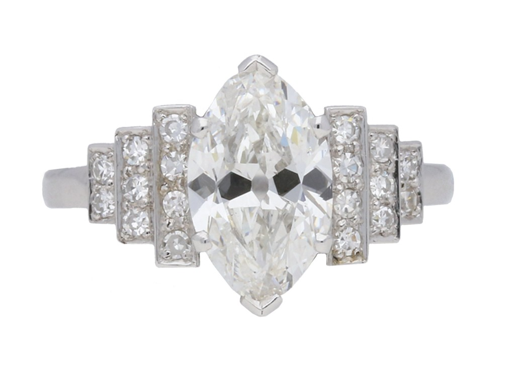 Art Deco flanked solitaire diamond ring Berganza Hatton Garden