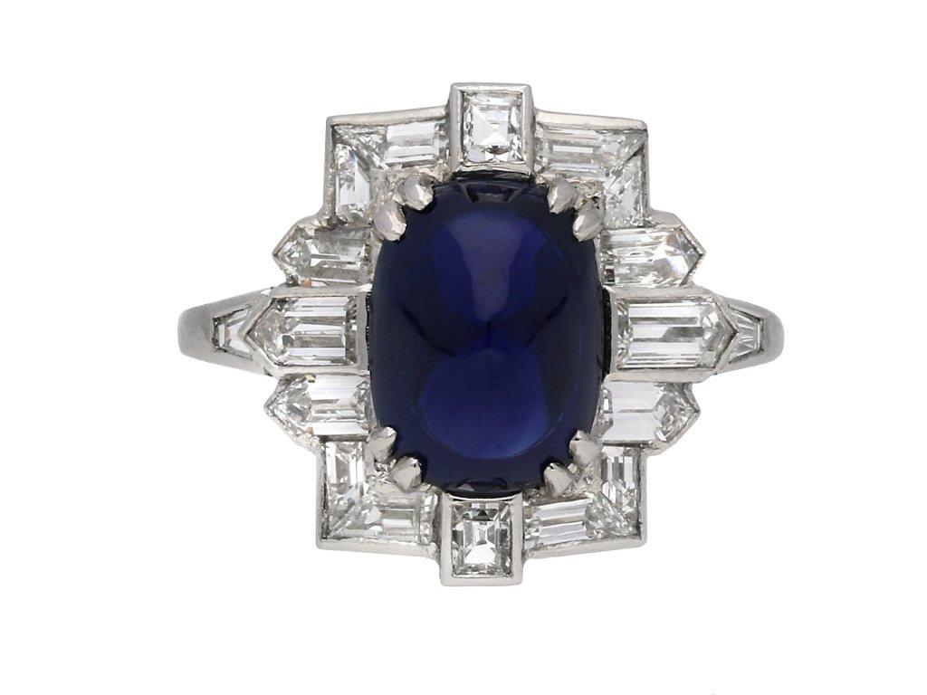 Art Deco cabochon sapphire diamond ring berganza hatton garden