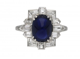 Art Deco cabochon sapphire diamond ring berganza hatton garden