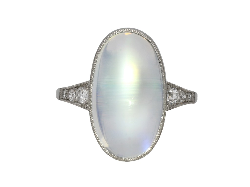 Art Deco rainbow moonstone ring berganza hatton garden
