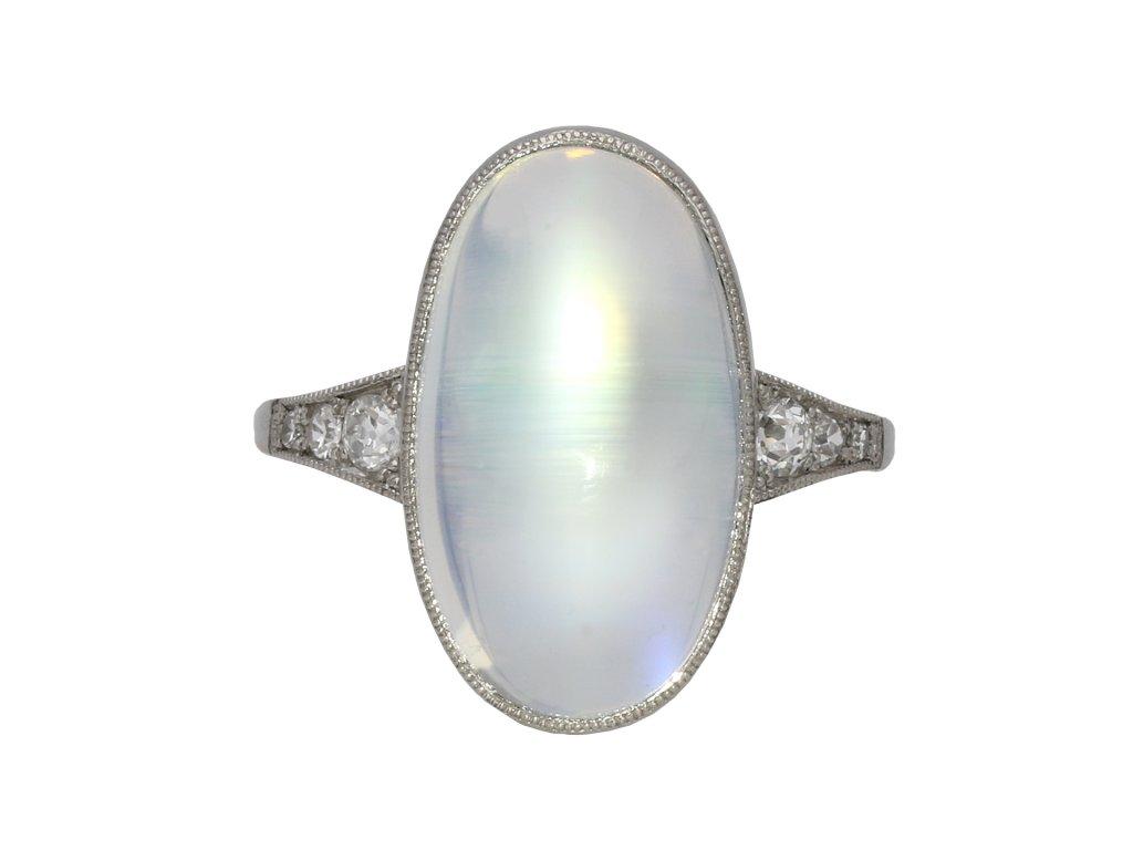 Art Deco rainbow moonstone ring berganza hatton garden