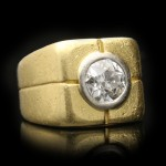 Diamond signet ring, French, circa 1950.