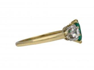 Edwardian emerald diamond three stone ring berganza hatton garden